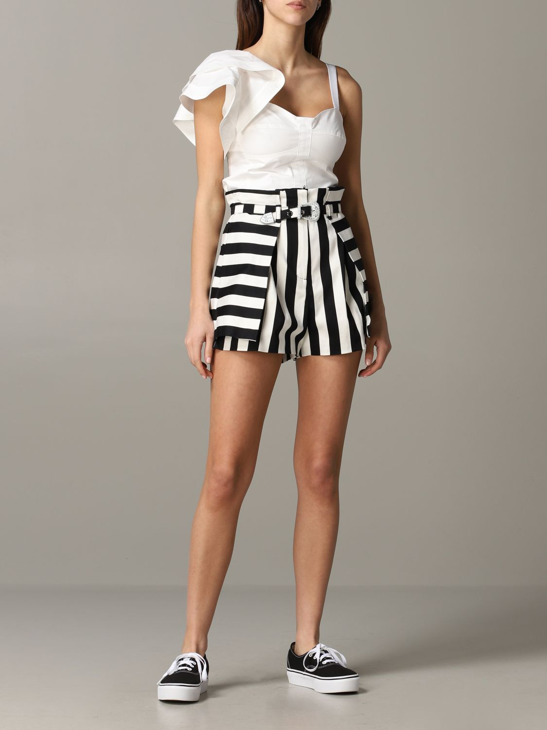 Pinko Danny cropped top with ruffles white 2