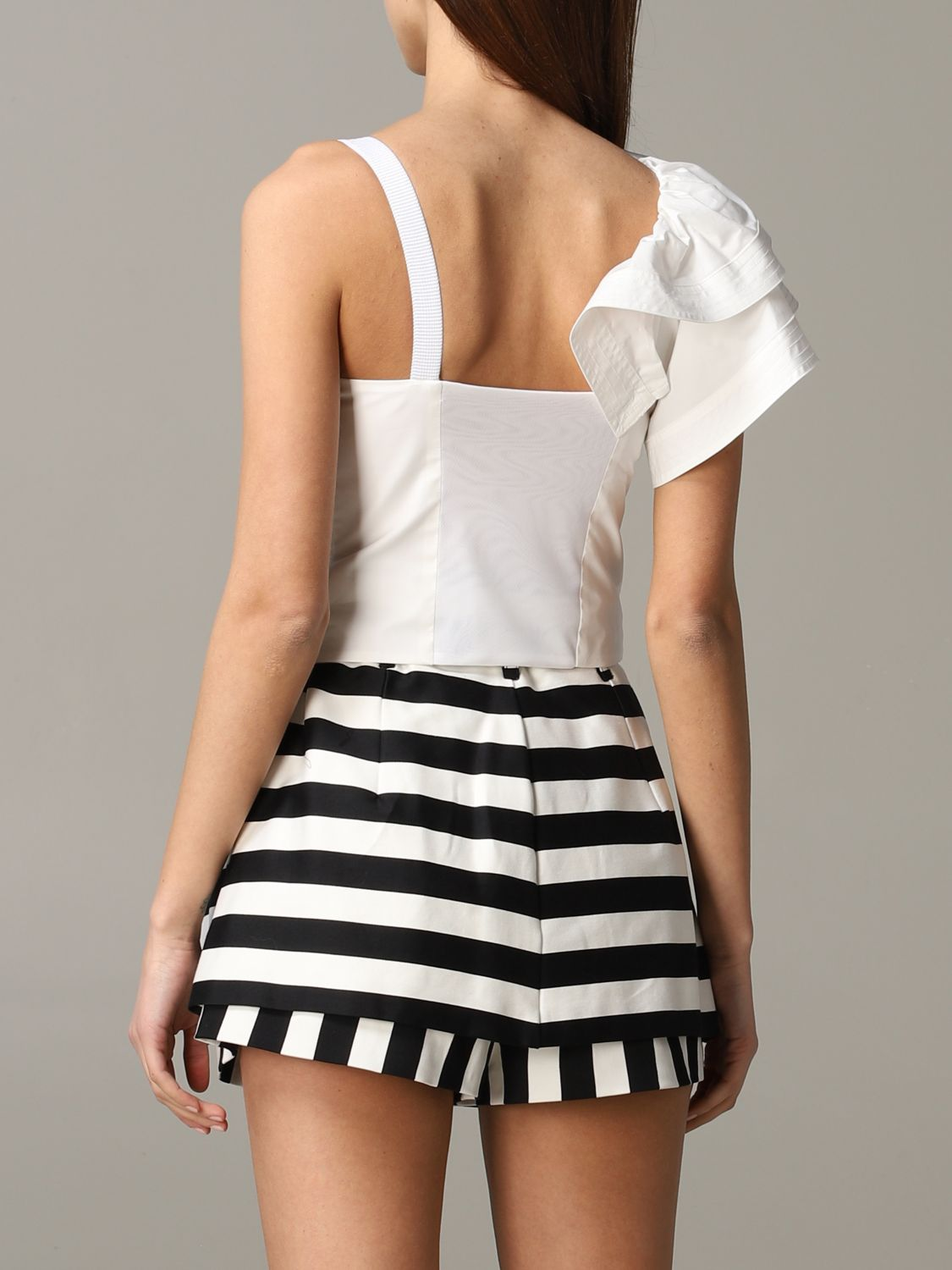 Pinko Danny cropped top with ruffles white 3