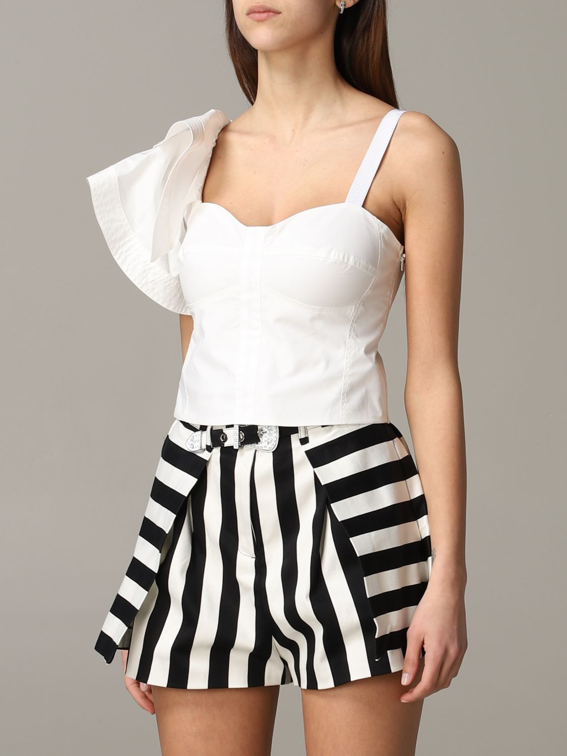 Pinko Danny cropped top with ruffles white 4