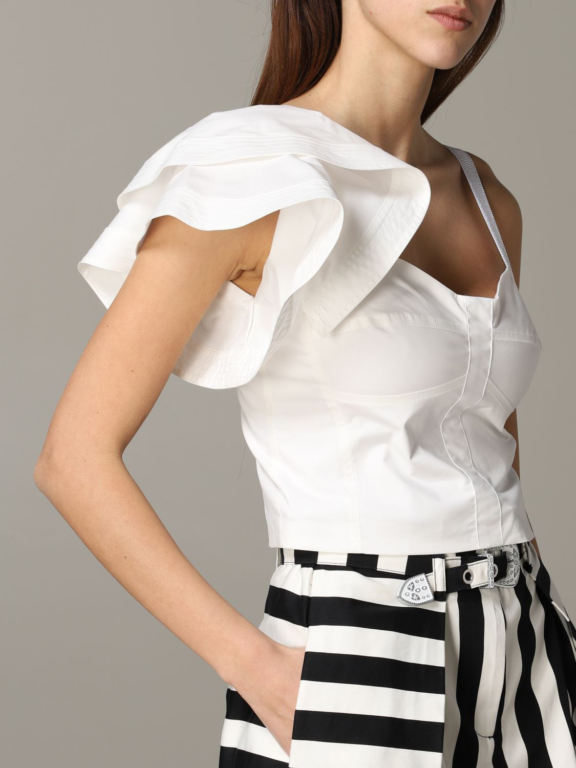 Pinko Danny cropped top with ruffles white 5