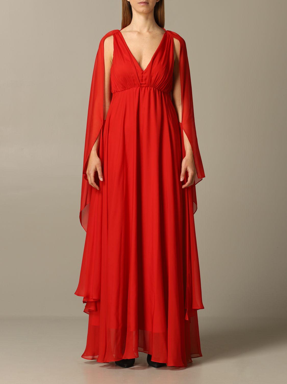 Robe Tati 1 Pinko Longue En Mousseline Robes Pinko Femme Rouge Robes Pinko 1b14mm 6242 Giglio Fr
