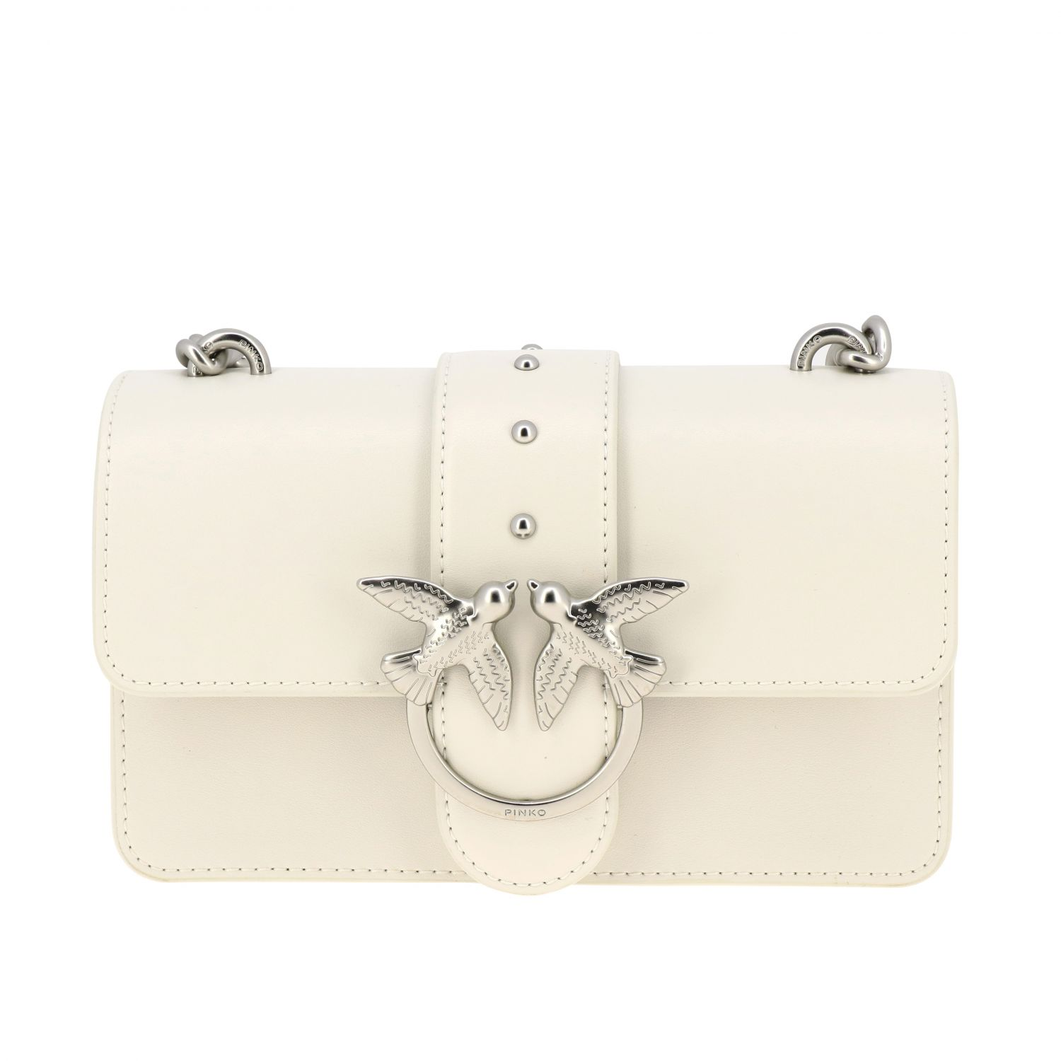 Pinko Love mini simply bag in smooth leather white 1