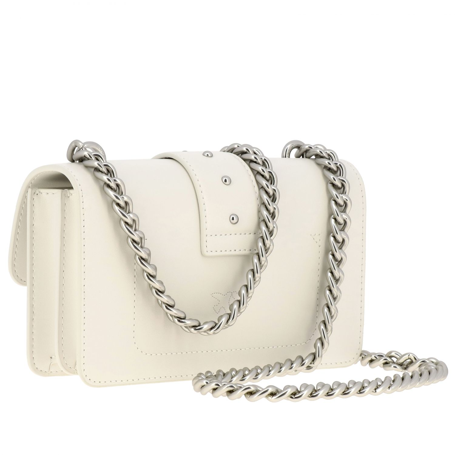 Pinko Love mini simply bag in smooth leather white 3