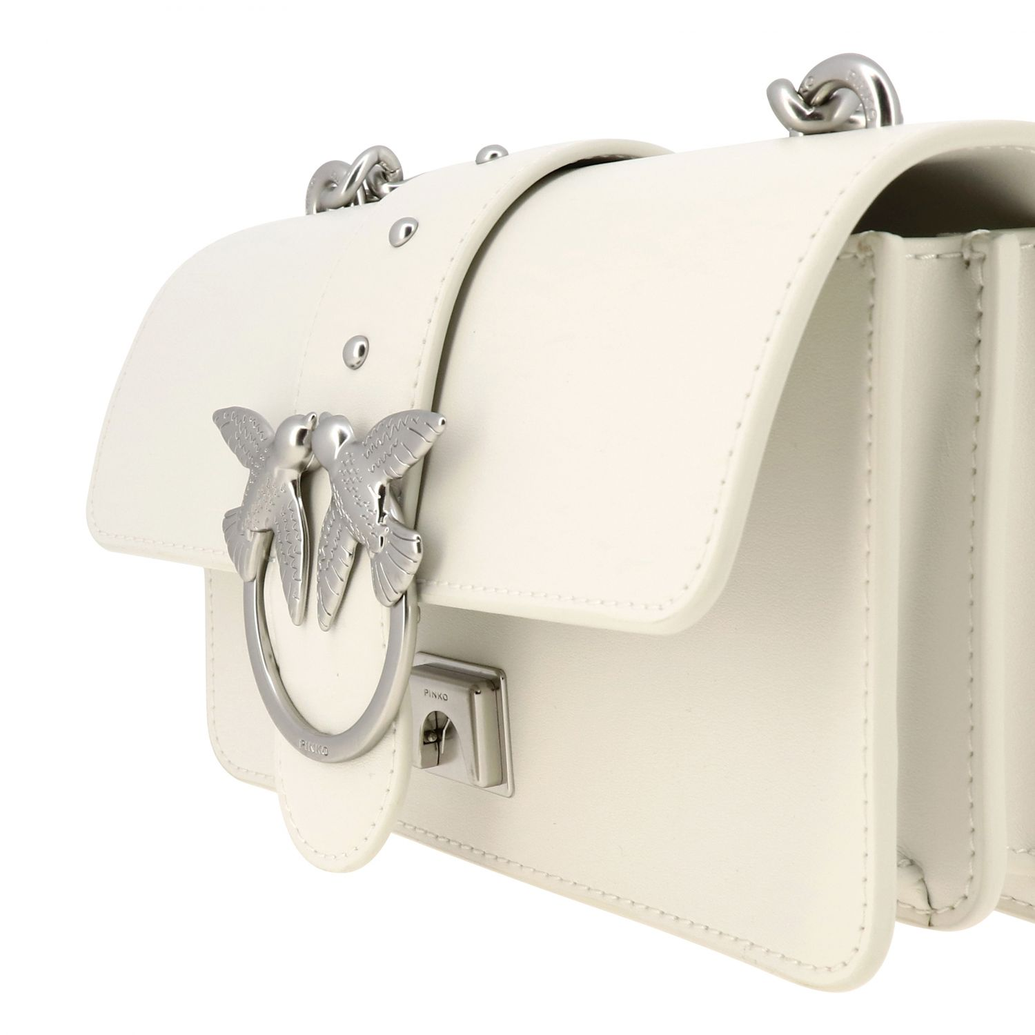 Pinko Love mini simply bag in smooth leather white 4