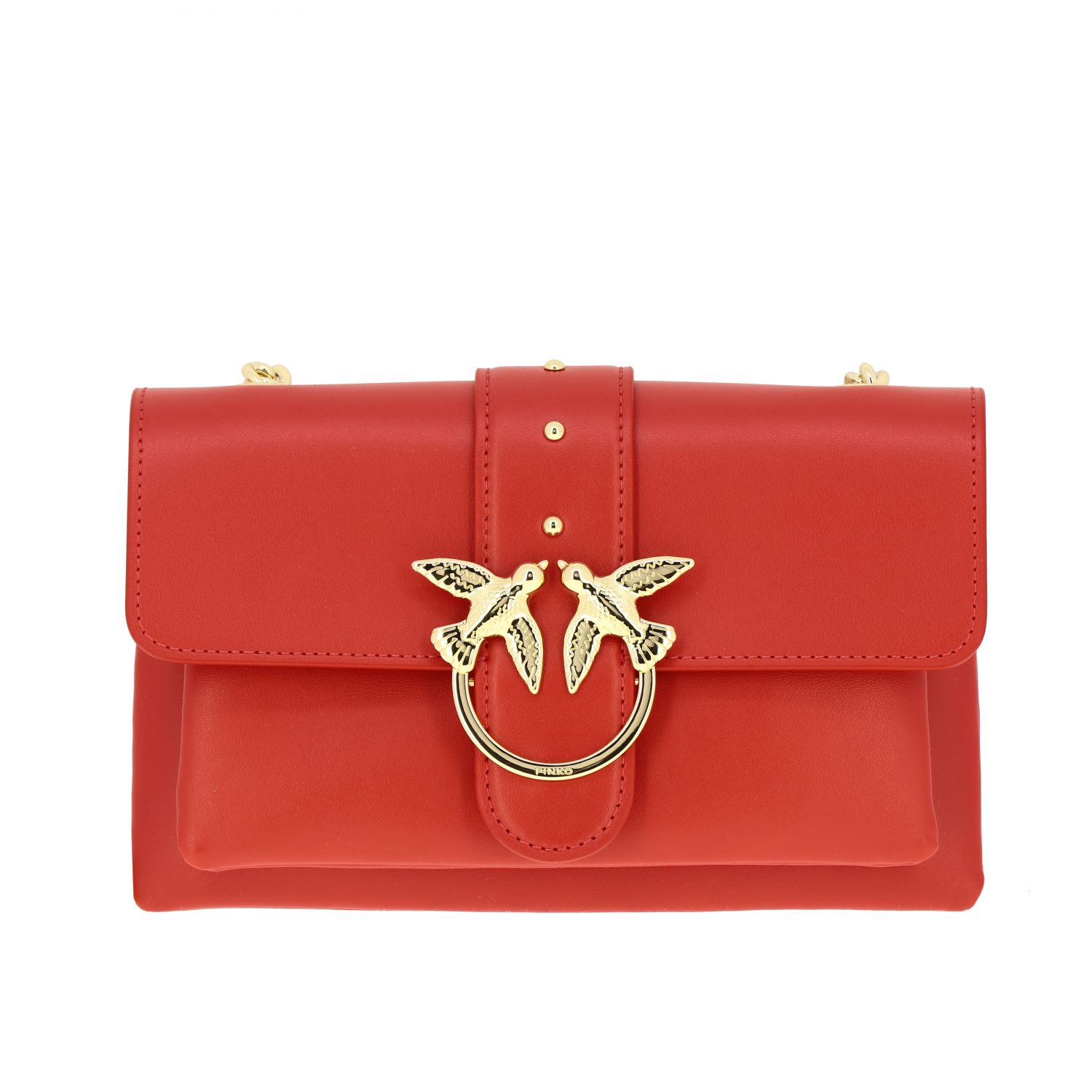 Pinko Love mini soft simply leather bag red 1