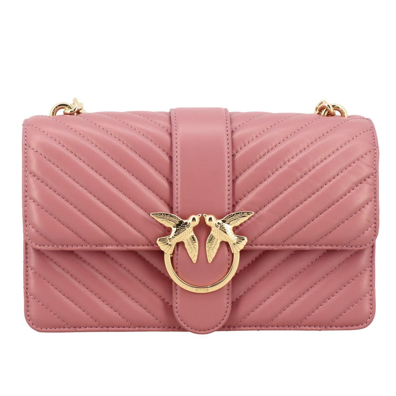 Borsa Love classic simply Pinko in pelle chevron rosa 1