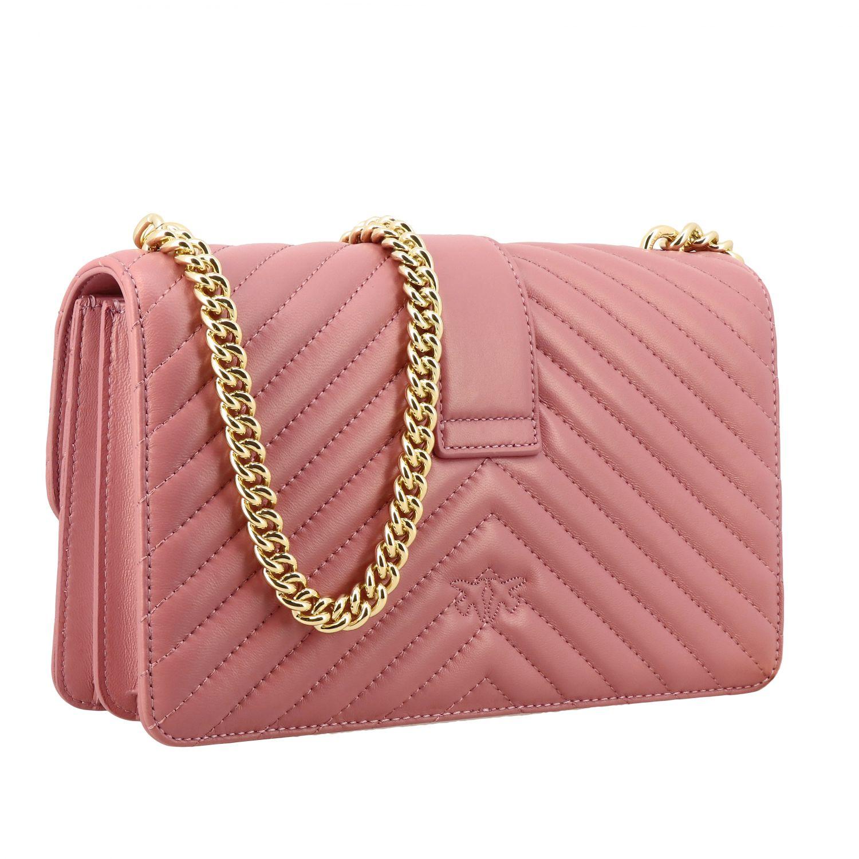 Borsa Love classic simply Pinko in pelle chevron rosa 3