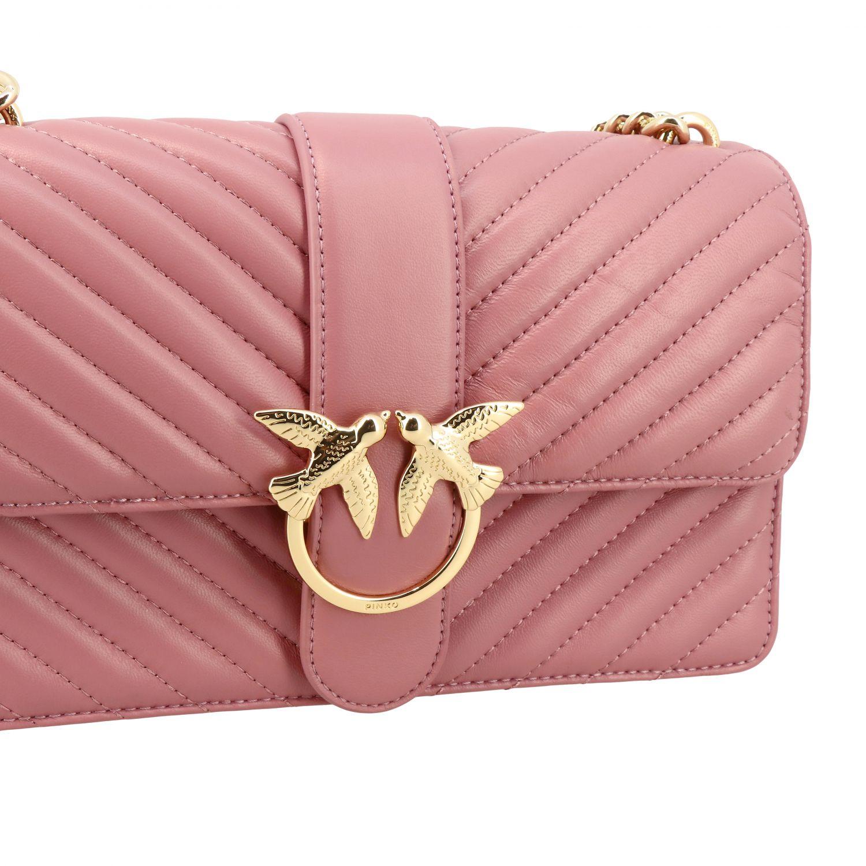 Borsa Love classic simply Pinko in pelle chevron rosa 4