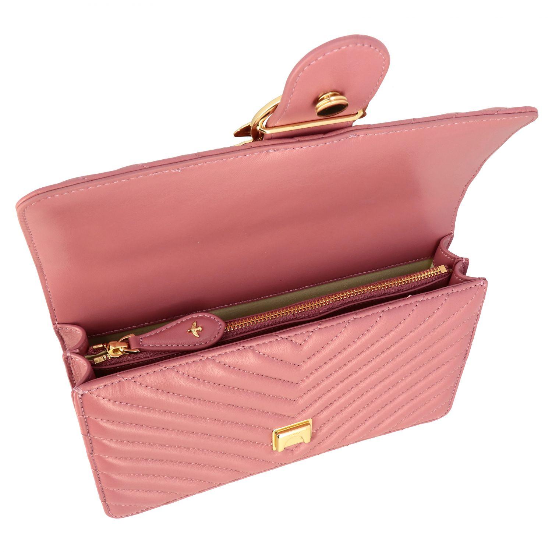 Borsa Love classic simply Pinko in pelle chevron rosa 5