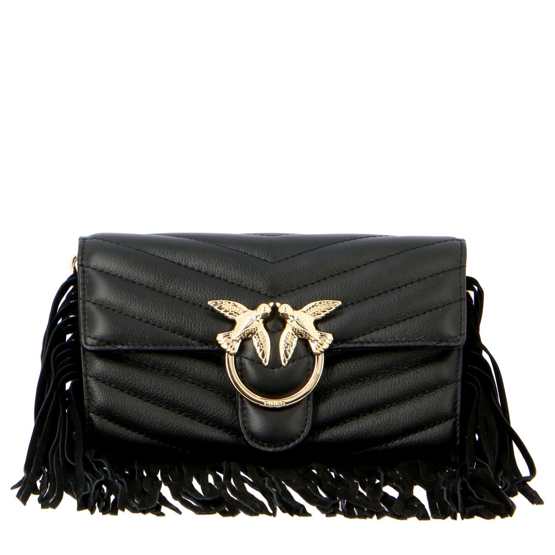 Borsa Love wallet fringes Pinko in pelle trapuntata nero 1