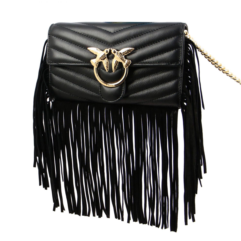 Borsa Love wallet fringes Pinko in pelle trapuntata nero 4