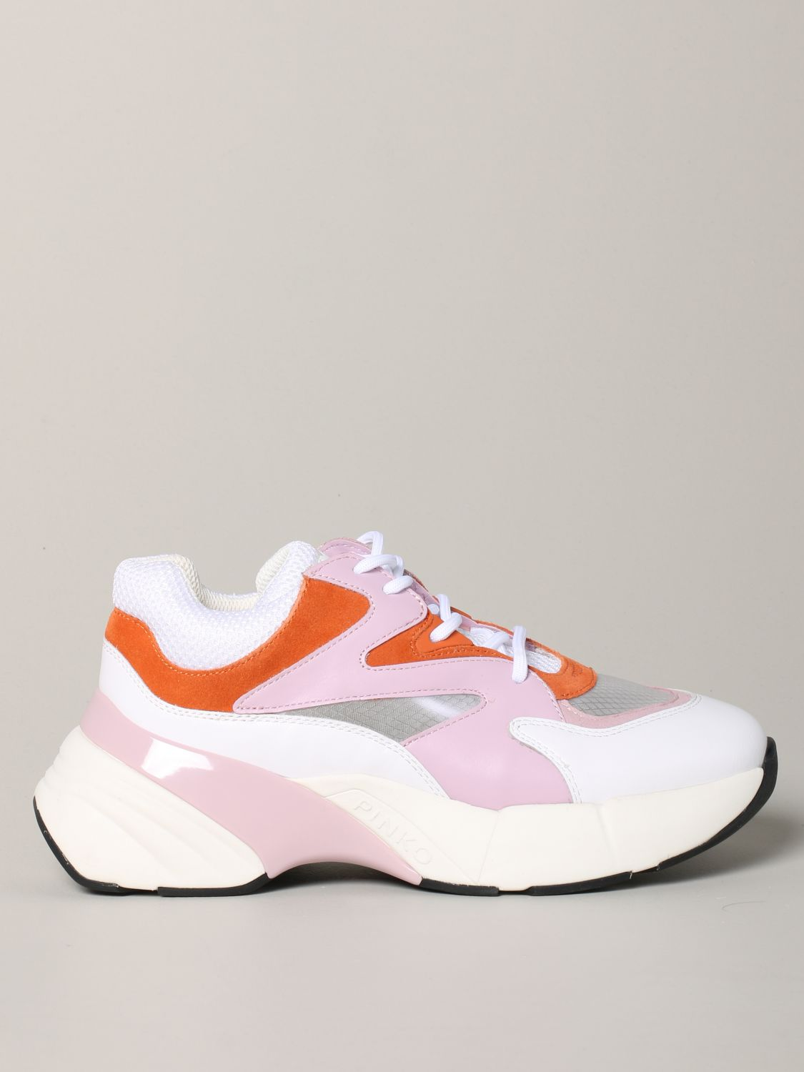 Pinko Marjoram sneakers in suede leather and mesh pink 1