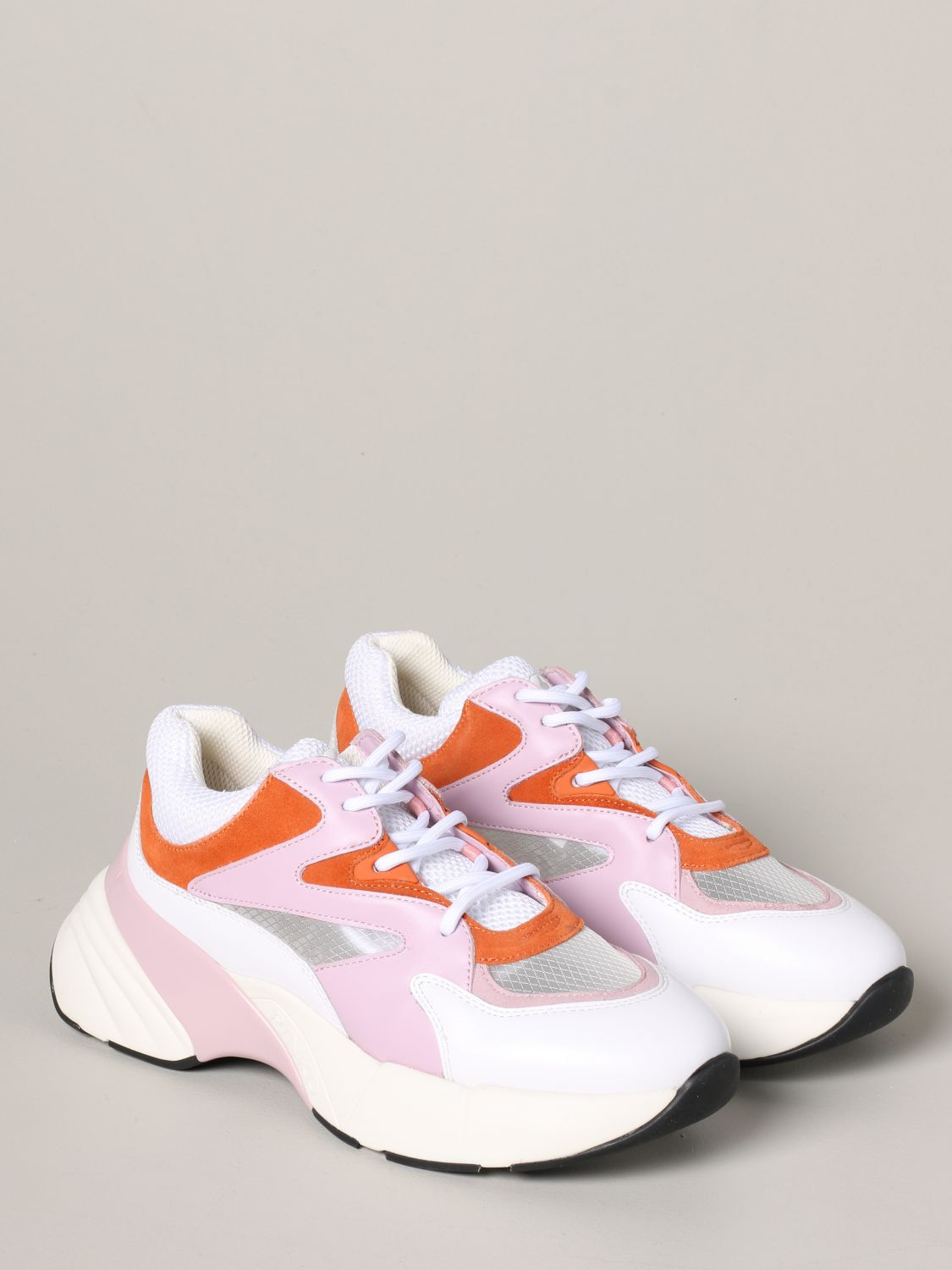 Pinko Marjoram sneakers in suede leather and mesh pink 2