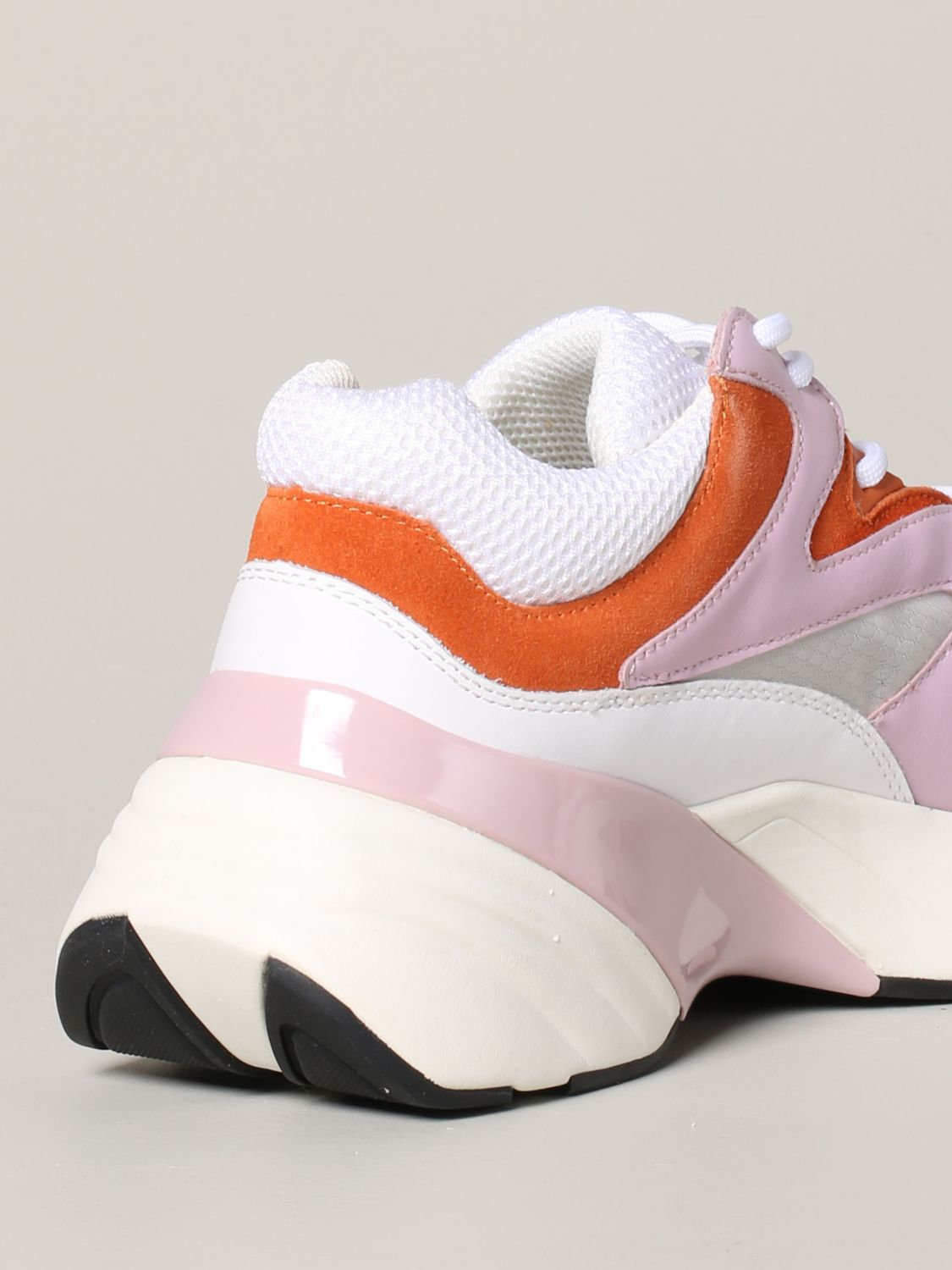 Pinko Marjoram sneakers in suede leather and mesh pink 5