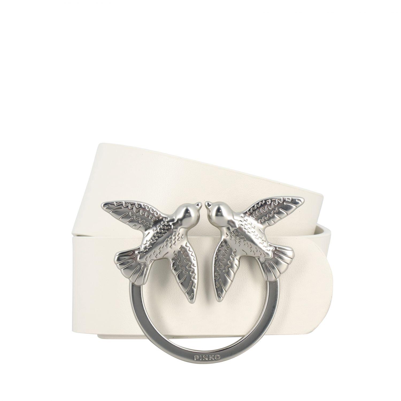 Pinko Berry simply Tasche aus Leder mit metallischem Ring weiß 1