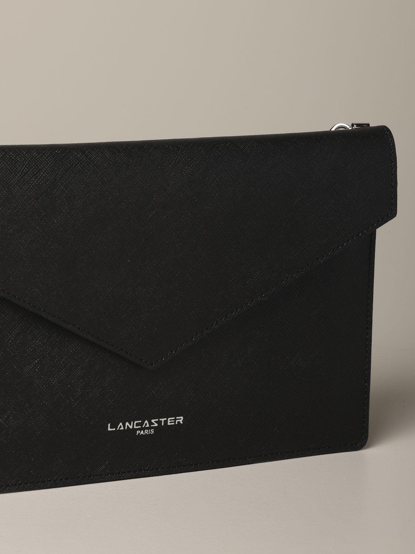 Lancaster Paris 金属感真皮信封式手包 黑色 3