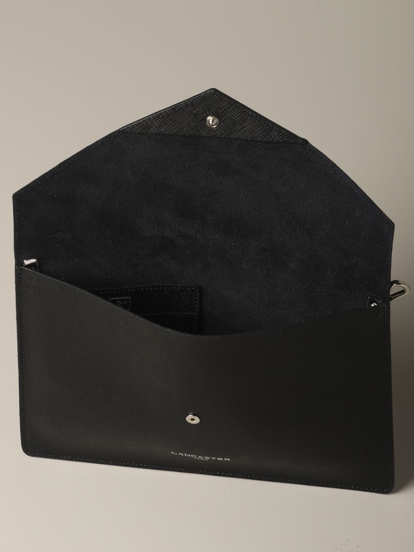 Lancaster Paris 金属感真皮信封式手包 黑色 4