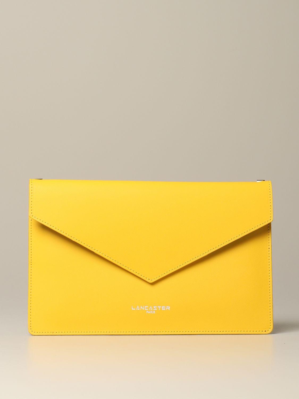 Lancaster Paris envelope pouch in leather yellow 1