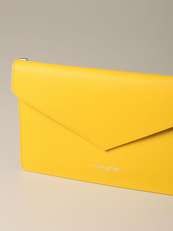 Lancaster Paris envelope pouch in leather yellow 3