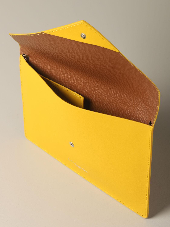 Lancaster Paris envelope pouch in leather yellow 4