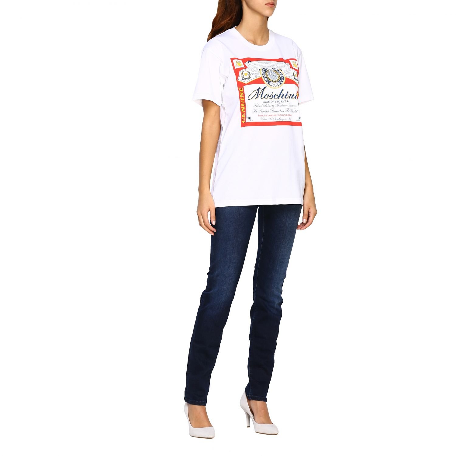 T-shirt Capsule Collection Moschino X Budweiser in jersey di cotone bianco 2