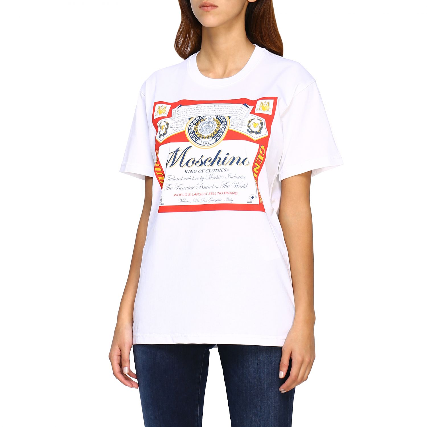T-shirt Capsule Collection Moschino X Budweiser in jersey di cotone bianco 4
