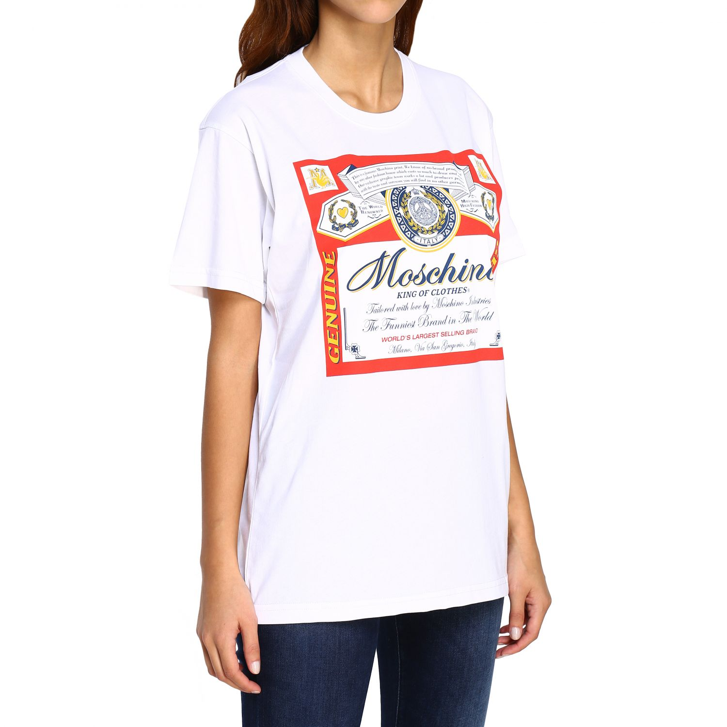T-shirt Capsule Collection Moschino X Budweiser in jersey di cotone bianco 5