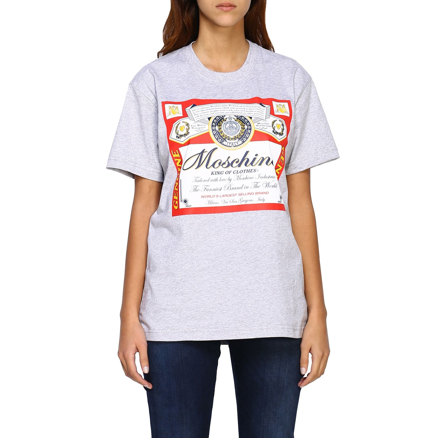 T-shirt Capsule Collection Moschino X Budweiser in jersey di cotone rosso 1
