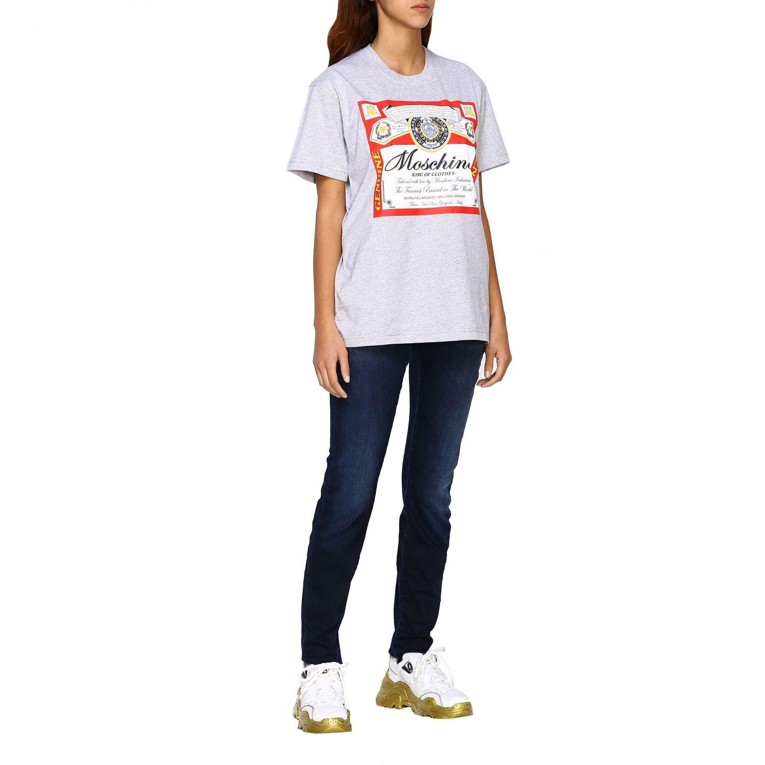 T-shirt Capsule Collection Moschino X Budweiser in jersey di cotone rosso 2
