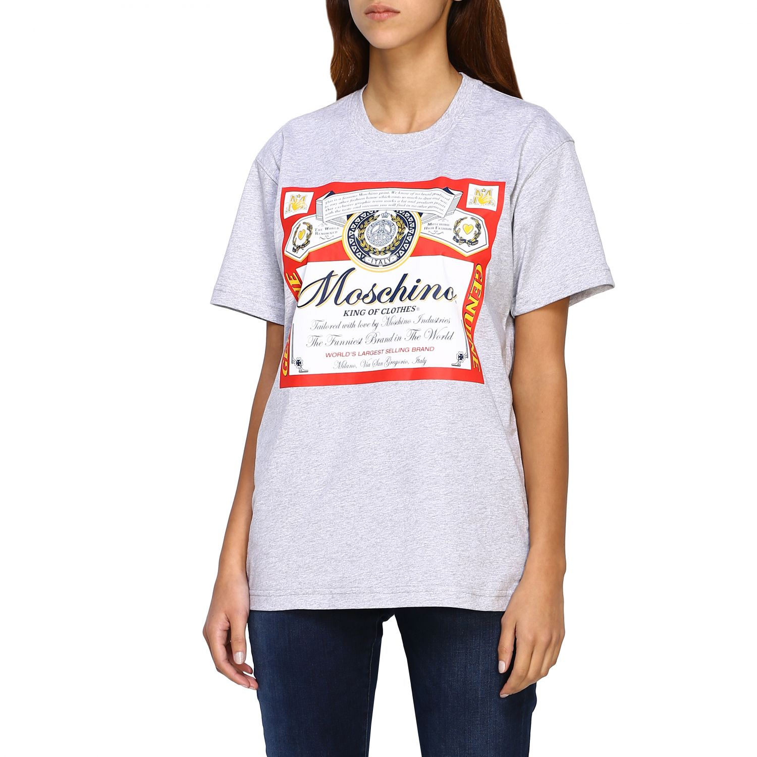 T-shirt Capsule Collection Moschino X Budweiser in jersey di cotone rosso 4