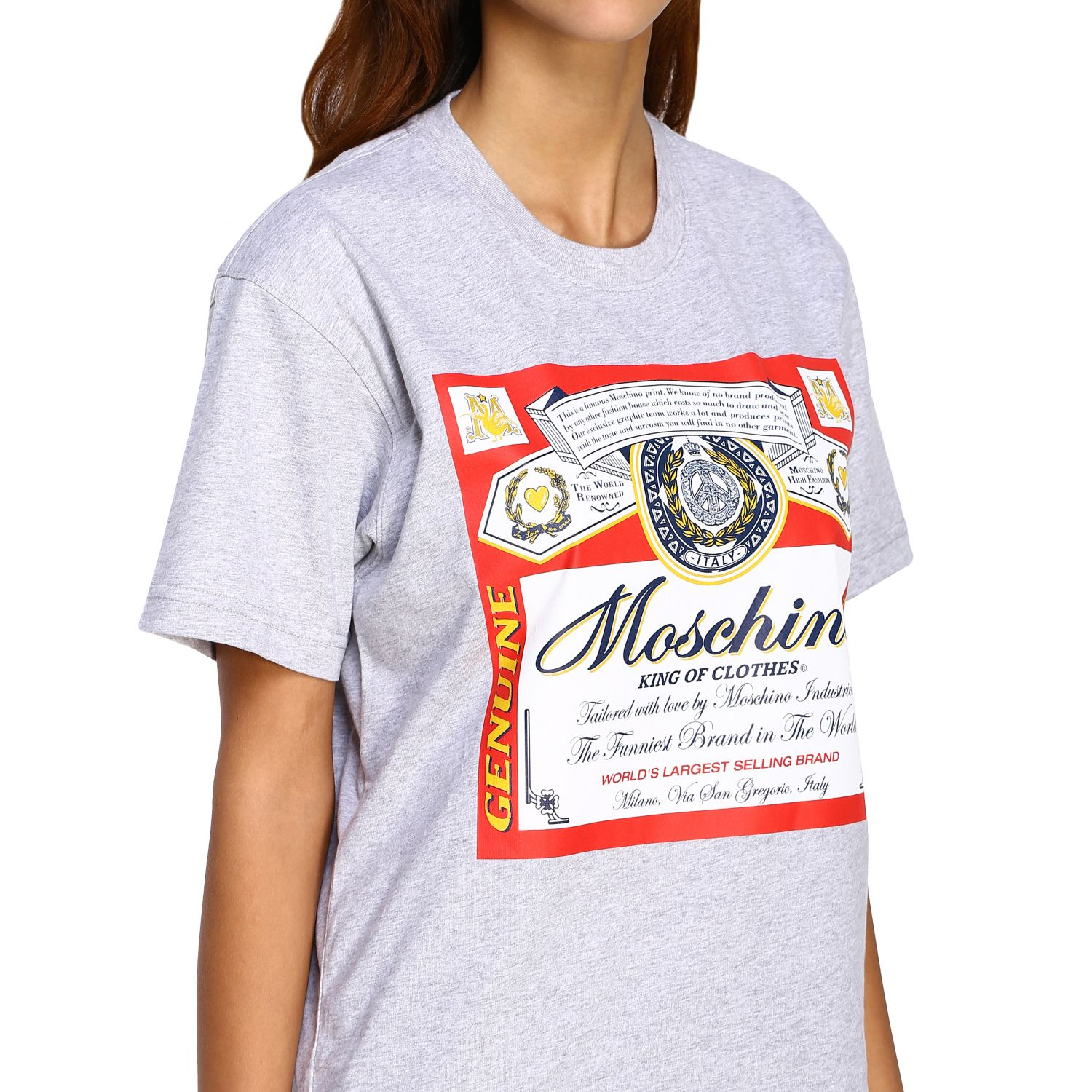 T-shirt Capsule Collection Moschino X Budweiser in jersey di cotone rosso 5