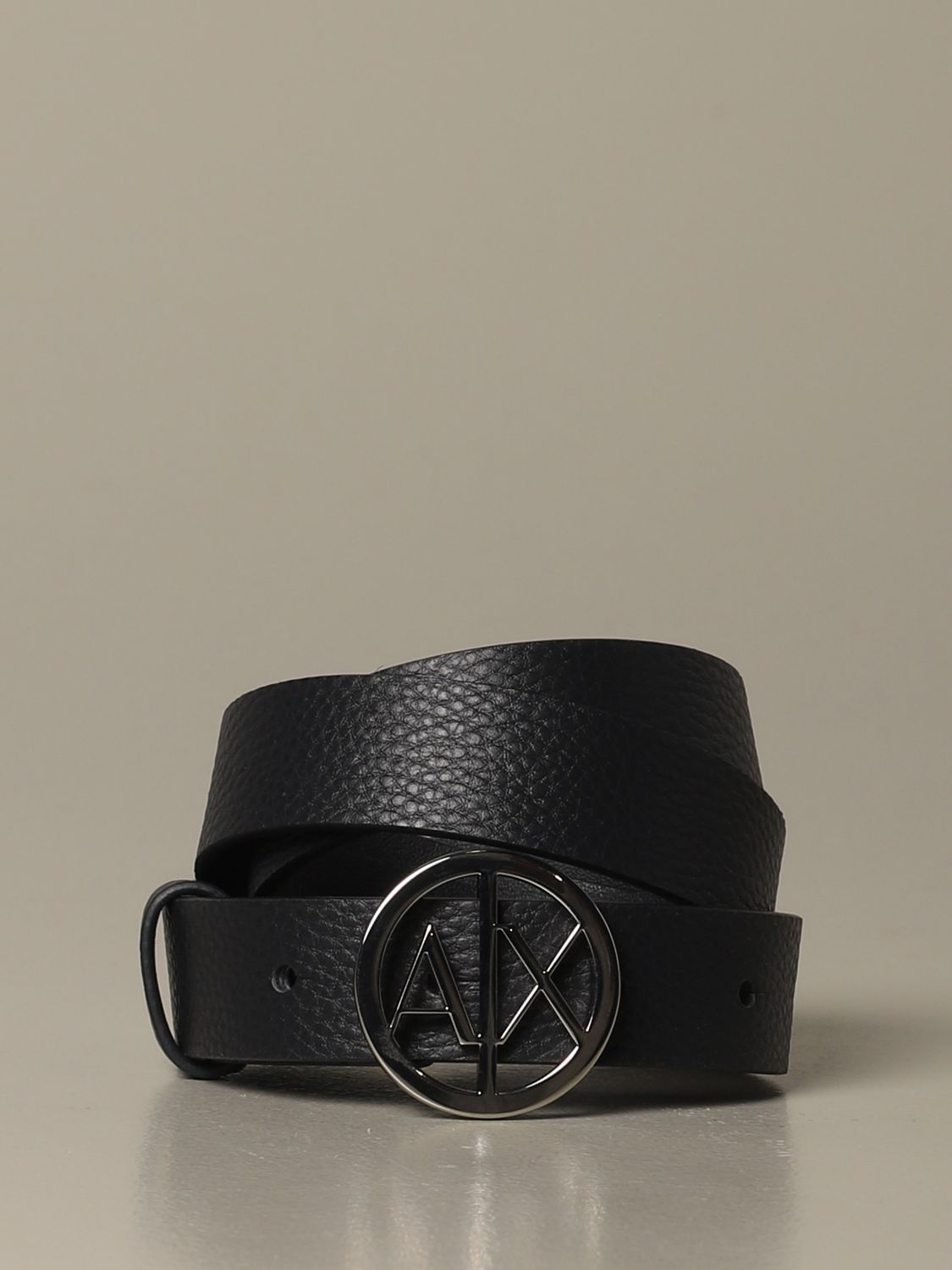 Armani Exchange belt in grained synthetic leather blue 1