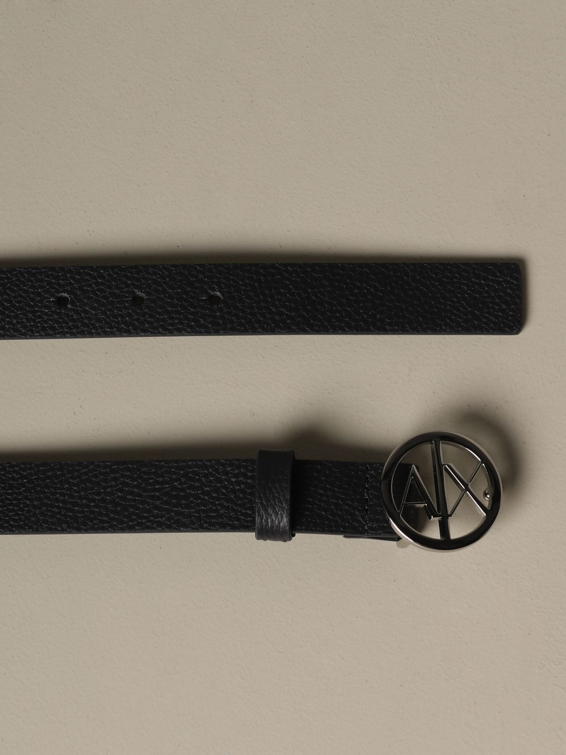 Armani Exchange belt in grained synthetic leather blue 2