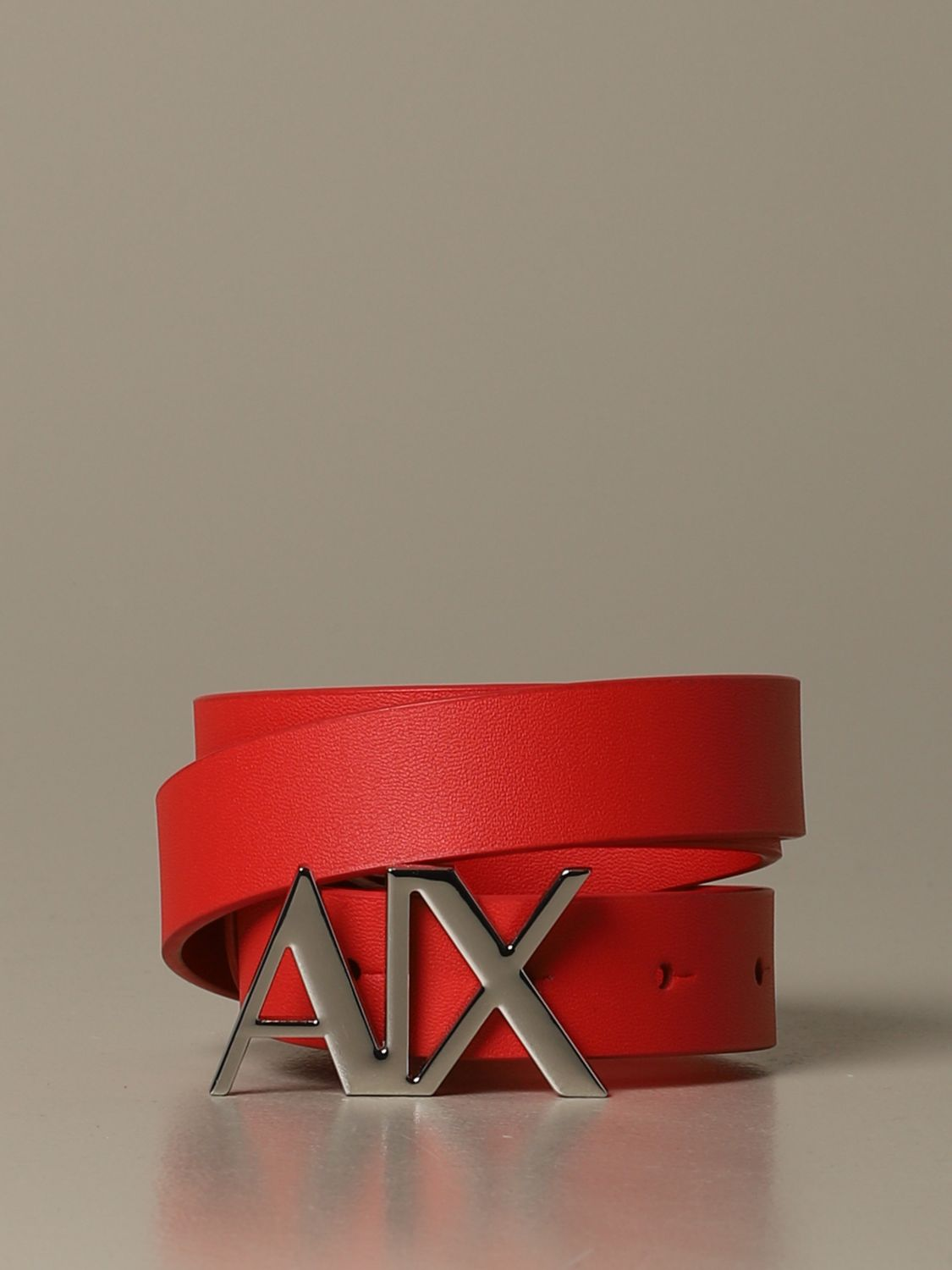 Armani Exchange leather belt with AX buckle coral 1