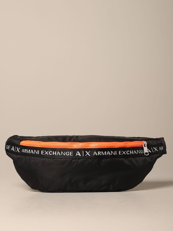 Sac banane Armani Exchange en nylon avec logo noir 1