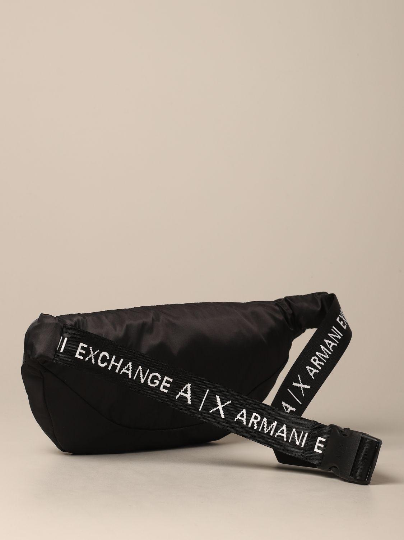 Sac banane Armani Exchange en nylon avec logo noir 2