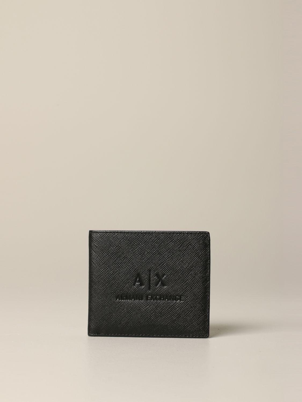 Portefeuille Armani Exchange en cuir synthétique saffiano noir 1
