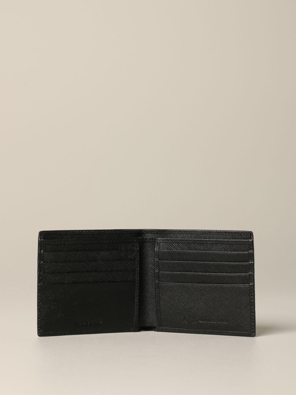 Portefeuille Armani Exchange en cuir synthétique saffiano noir 2