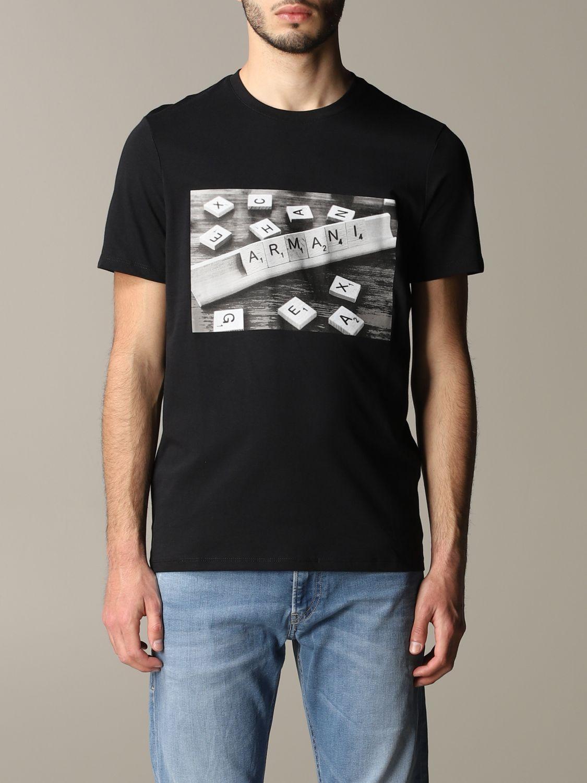 T-shirt à col rond Armani Exchange avec logo domino noir 1