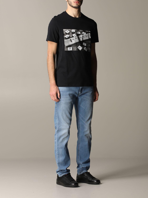 T-shirt à col rond Armani Exchange avec logo domino noir 2