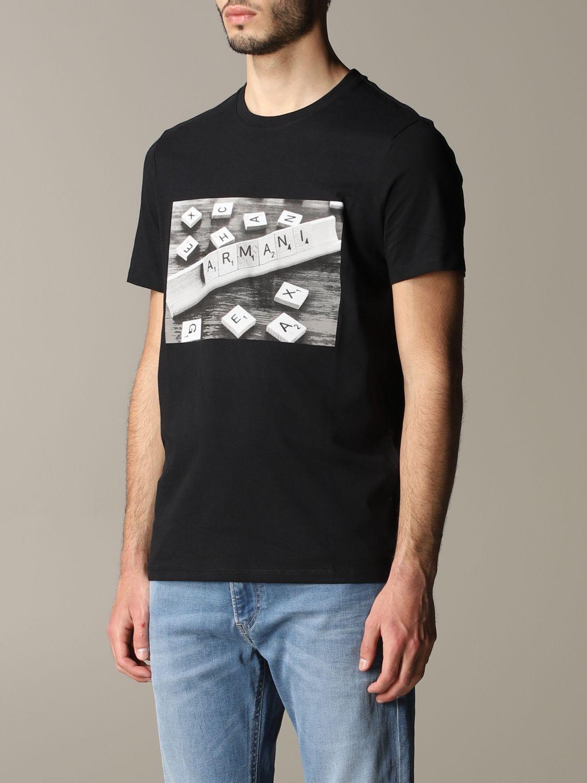 T-shirt à col rond Armani Exchange avec logo domino noir 4