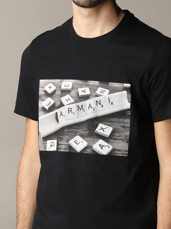 T-shirt à col rond Armani Exchange avec logo domino noir 5