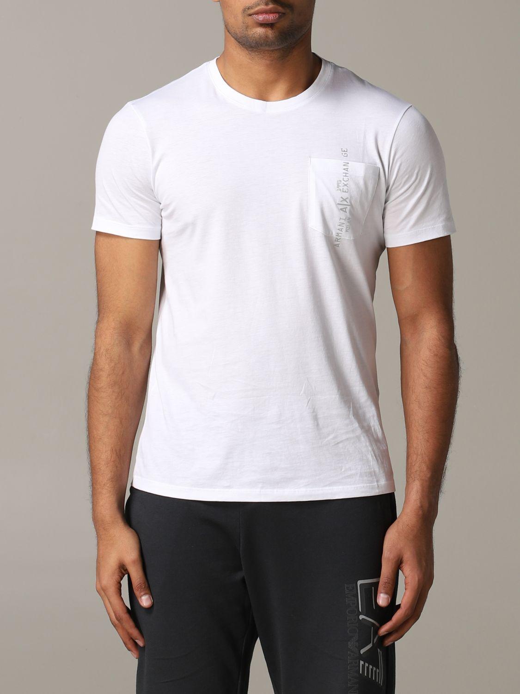 T-shirt col rond Armani Exchange avec logo et poche blanc 1
