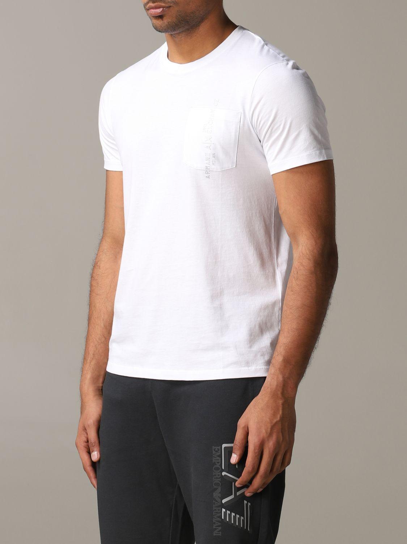 T-shirt col rond Armani Exchange avec logo et poche blanc 4