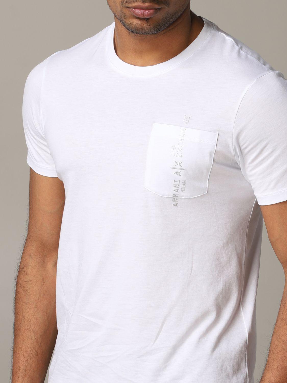 T-shirt col rond Armani Exchange avec logo et poche blanc 5