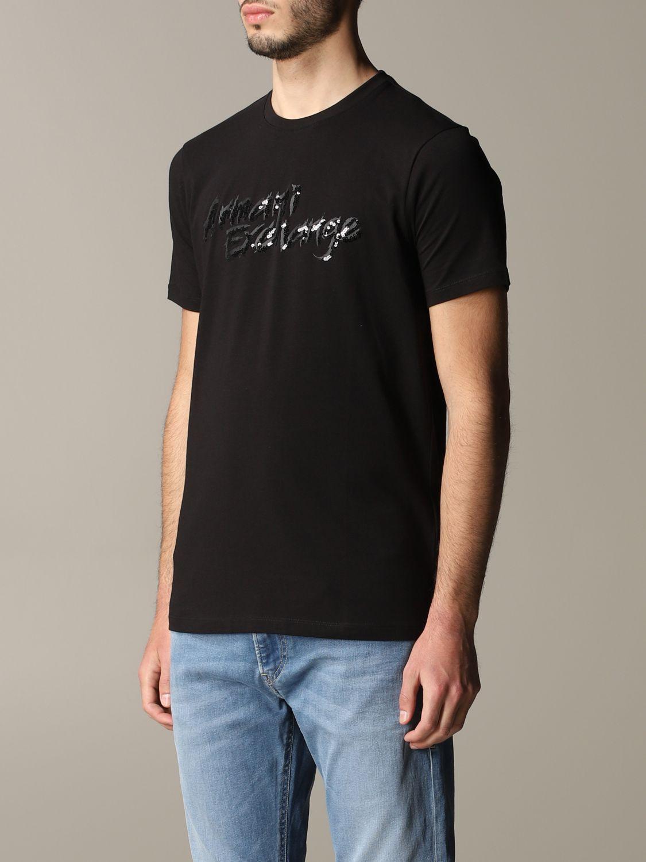 T-shirt Armani Exchange: Armani Exchange crew neck t-shirt with sequin logo black 4