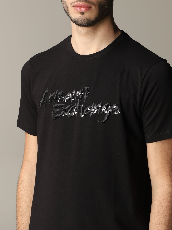 T-shirt Armani Exchange: Armani Exchange crew neck t-shirt with sequin logo black 5