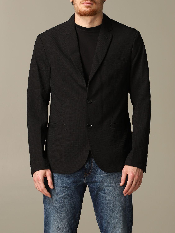 Blazer Armani Exchange: Armani Exchange single-breasted cotton jacket black 1