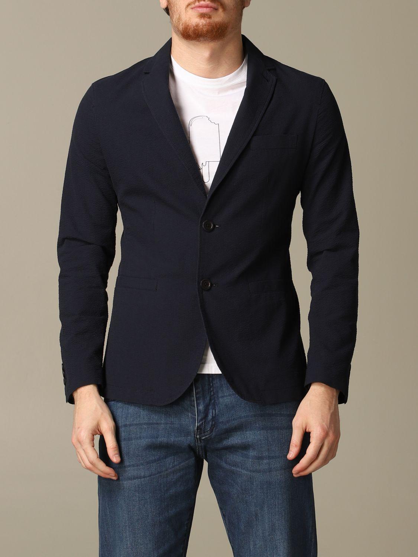 Blazer Armani Exchange: Armani Exchange jacket in textured cotton navy 1
