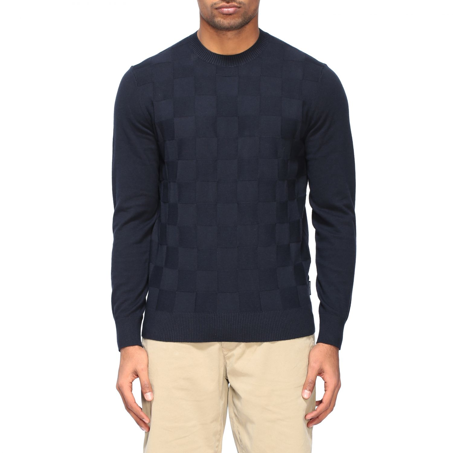 Sweater Armani Exchange: Armani Exchange crew neck sweater with checked pattern blue 1